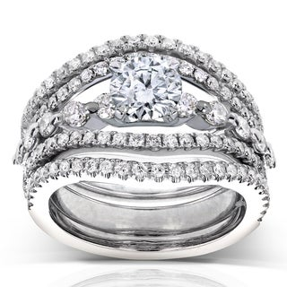 Annello by Kobelli 14k White Gold 1 2/5 ct TDW Round Diamond Split Shank 3-Piece Bridal Rings Set