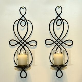 Adeco Brown Iron Vertical Wall Hanging Candle Holder Sconce (Set of 2)