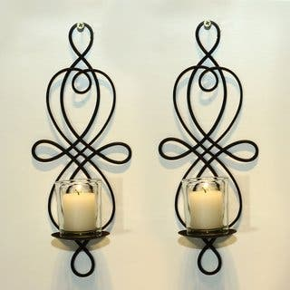 Adeco Brown Iron Vertical Wall Hanging Candle Holder Sconce (Set of 2)|https://ak1.ostkcdn.com/images/products/10364659/P17471975.jpg?impolicy=medium
