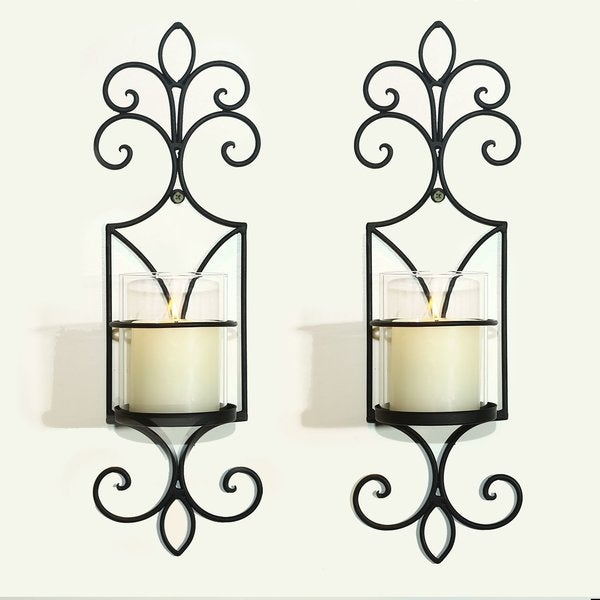 Adeco Brown Iron Vertical Wall Hanging Candle Holder Sconce Accents (Set of 2)