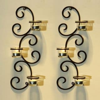 Adeco Brown Iron Vertical Wall Hanging Accents Candle Holder Sconce (Set of 2)|https://ak1.ostkcdn.com/images/products/10364662/P17471974.jpg?impolicy=medium