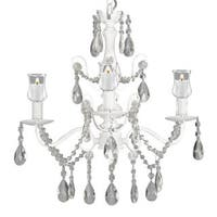 Wrought Iron and Crystal White Chandelier with Candle Votives