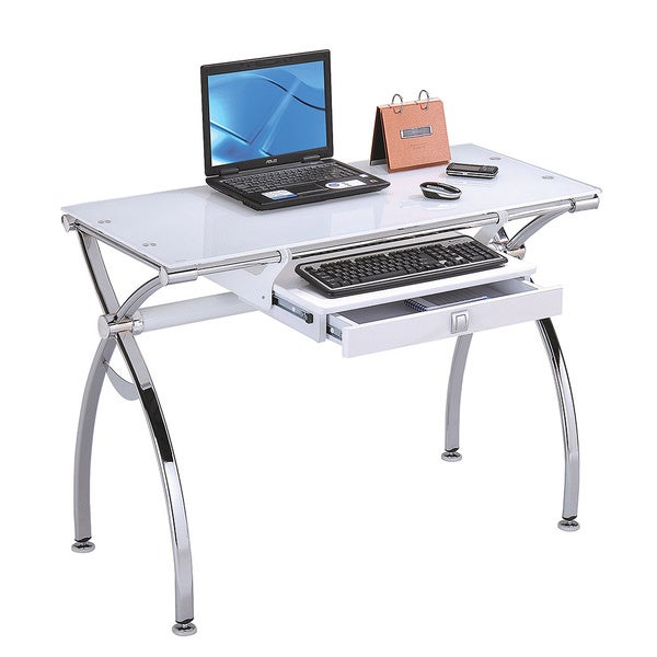 Shop Prevailing Computer Desk Chrome Amp White Glass Free