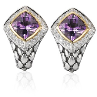 Avanti Palladium Silver 18k Yellow Gold Amethyst and White Sapphire Earrings