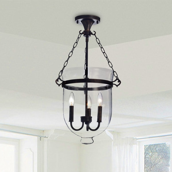 Yamila Antique Copper Glass Lantern Flush Mount Chandelier - Clear