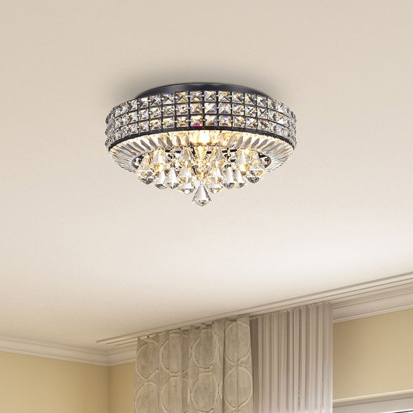 jolie antique black 4 light crystal round flush mount chandelier