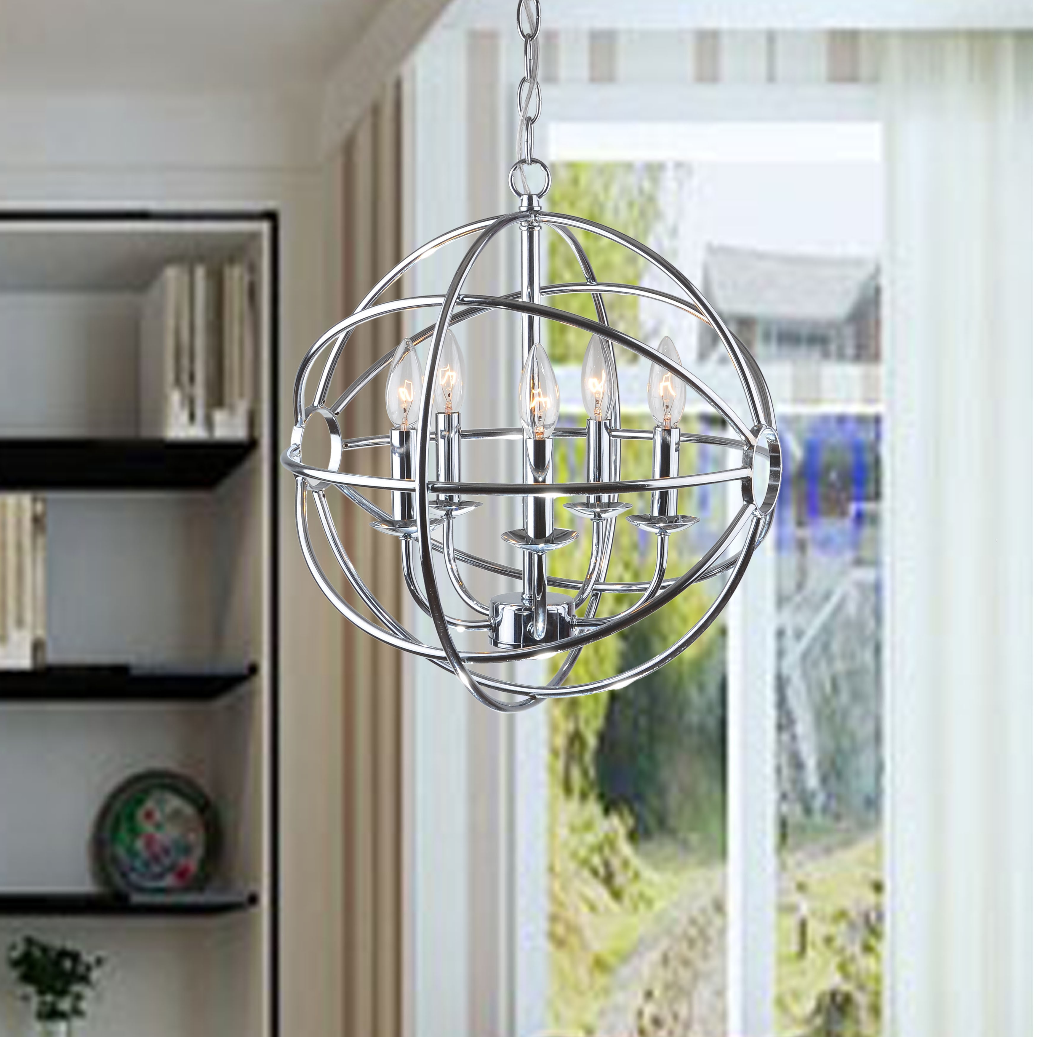 Clay Alder Home Hanover Chrome Glam Orb 5-light Iron Chandelier
