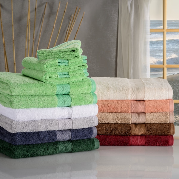 Charming Superior Soft, Absorbent Rayon From Bamboo And Cotton 6 Piece Towel Set Amazing Design