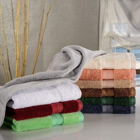 Miranda Haus Rayon from Bamboo and Cotton Hand Towel Set (Set of 6)
