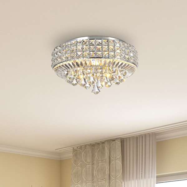Silver Orchid Taylor Chrome 4 Light Crystal Flush Mount Chandelier