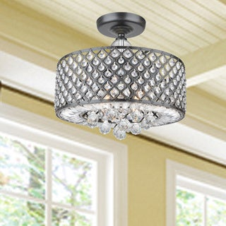 Evelyn Antique Black Finish and Crystal Flush-mount Chandelier