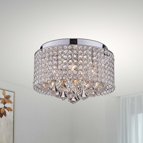 nerisa 4light chrome and crystal drum shade flush mount chandelier