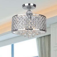 Evelyn Chrome Finish and Crystal Flush-mount Chandelier