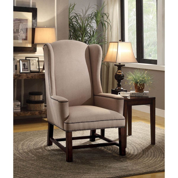 Wells Beige Upholstered Accent Chair