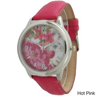 Olivia Pratt Women's 7929 Bright Floral Leather Strap Watch