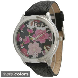 Olivia Pratt Women's 7929 Bright Floral Leather Strap Watch