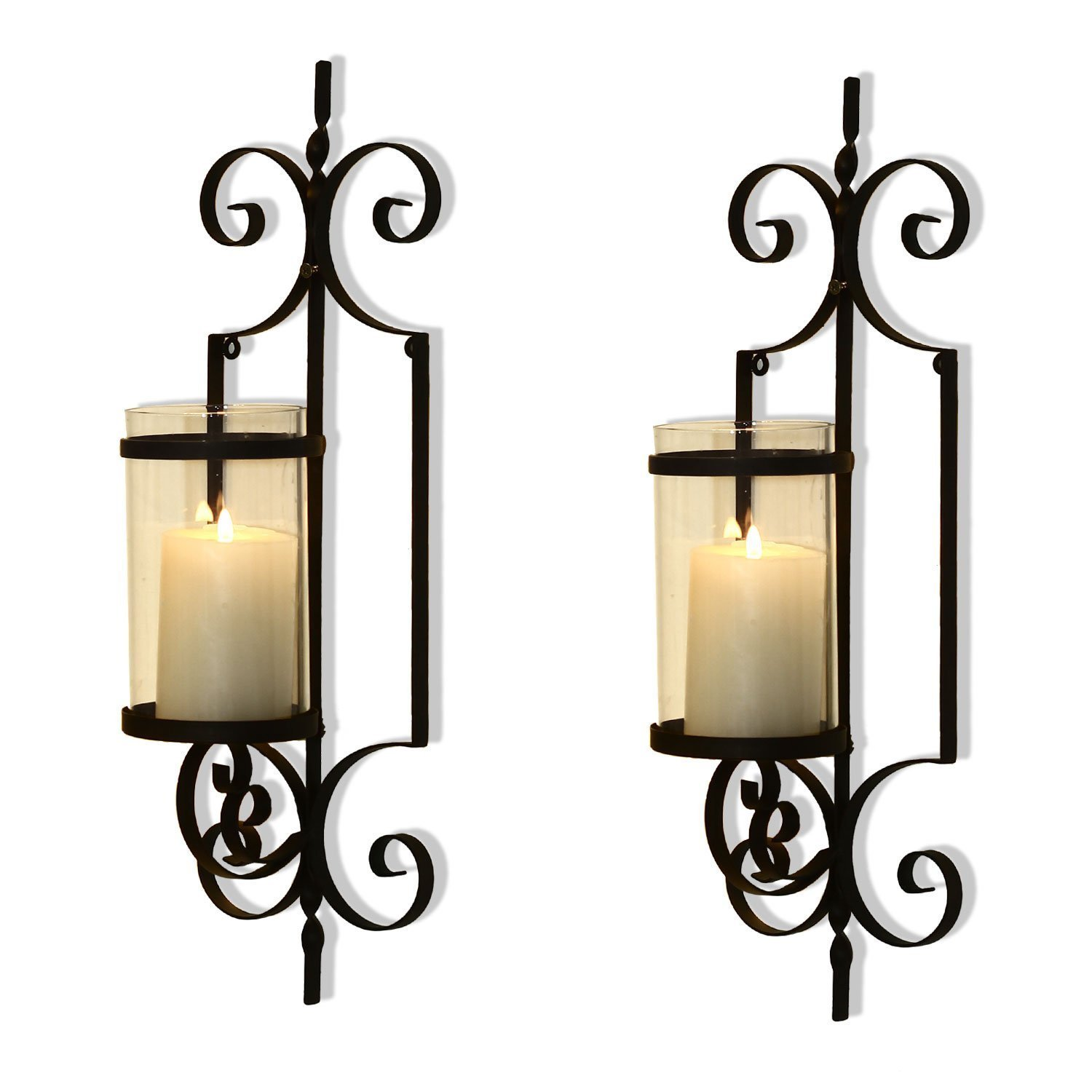 Adeco Cast Iron Vertical Wall Hanging Accents Candle Hold...