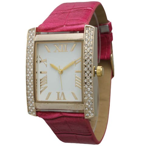 Olivia Pratt Women's 1333 Rhinestone Pink Leather Watch