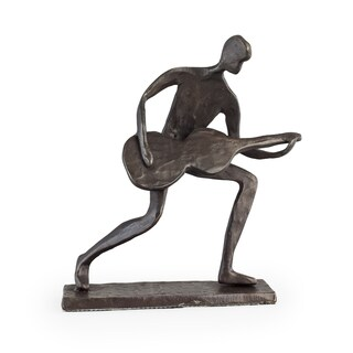 Danya B. Crouching Guitar Player Bronze Sculpture