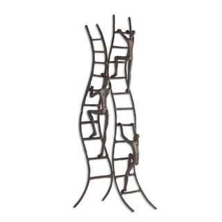 Danya B Climbing to Success Stairway Brown Iron Wall Hanging