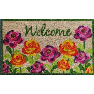 PVC Backed Roses Multi Color Doormat