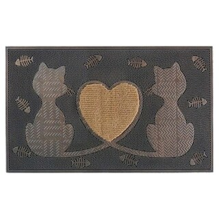 First Impression Rubber Twin Heart Cat Doormat