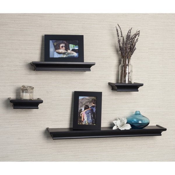 Danya B 4-piece Black Cornice Ledge Shelf Set with Photo Frames ...