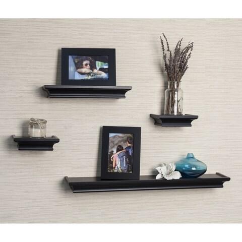 Danya B. Black Cornice Ledge Shelves with Photo Frames (Set of 4)