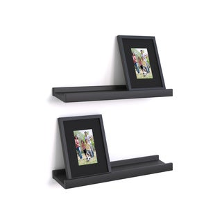 Danya B Black Ledge Shelves with Photo Frames (Set of 2)