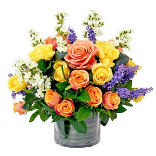 Colorful Arrangement of Roses, Lilacs, and Heather in Glass Vase