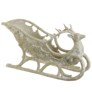 Large White Deer Sleigh Decorative Object