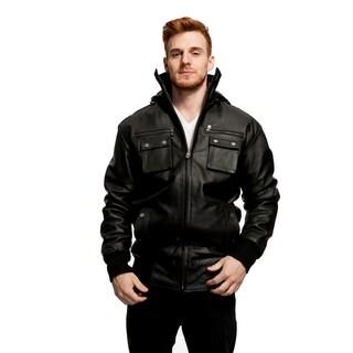 James Men's Leather Hooded Jacket