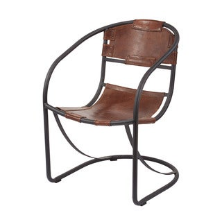 LS Dimond Home Retro Round Back Leather Lounger