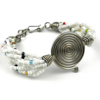 Handmade Single Spiral 'Progress' White Beaded Bracelet (Kenya)