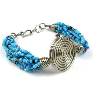 Single Spiral 'Progress' Blue Beaded Bracelet (Kenya)