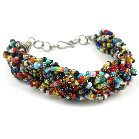 Handmade Multicolor Six Strand Braid Beaded Bracelet (Kenya)