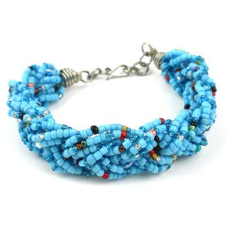 Blue Six Strand Braid Beaded Bracelet
