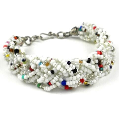 Handmade White Six Strand Braid Beaded Bracelet (Kenya)