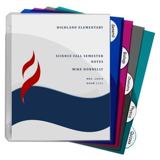 C-Line Products 5-Tab Poly Binder Index Dividers with Slant Pockets (Pack of 12 Sets)