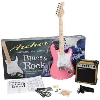 Archer SS10 Blues and Rock Jr. Pink Electric Guitar Package