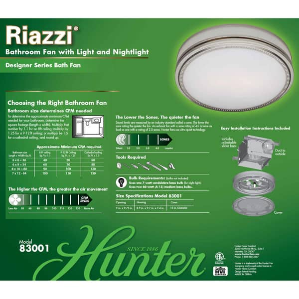 Hunter Riazzi 110 Cfm Ceiling Exhaust Bath Fan With Cased Glass Overstock 10364931