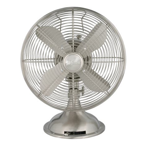 Hunter 12-inch Brushed Nickel Retro Metal Table Fan