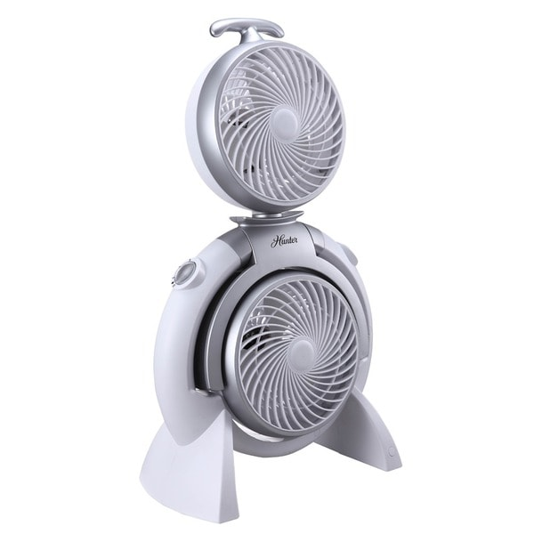 Hunter FSQQ White 3-speed Adjustable Dual Fan