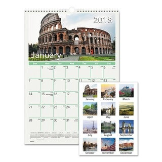 AT-A-GLANCE European Destinations Wall Calendar, 12 x 17, 2018