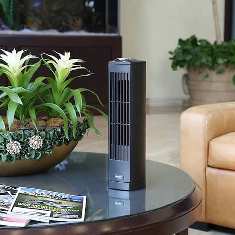 Seville Classics Black UltraSlimline 17 in. Oscillating Personal Tower Fan