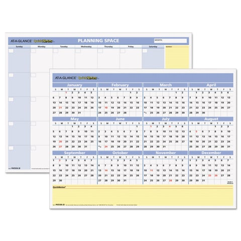 AT-A-GLANCE QuickNotes Mini Erasable Wall Planner, 16 x 12, 2019