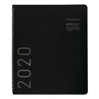 AT-A-GLANCE Contemporary Monthly Planner, Premium Paper, 8 7/8 x 11, Black Cover, 2018