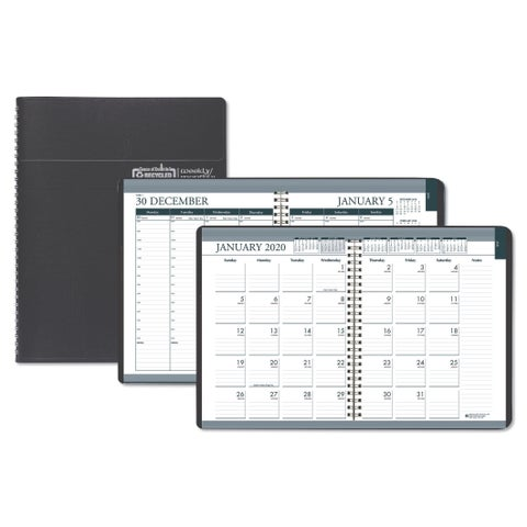 House of Doolittle Recycled Wirebound Weekly/Monthly Planner, 8 1/2 x 11, Black Leatherette, 2019