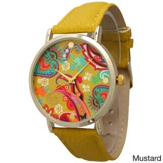 Olivia Pratt Women's Abstract Paisley Leather Watch