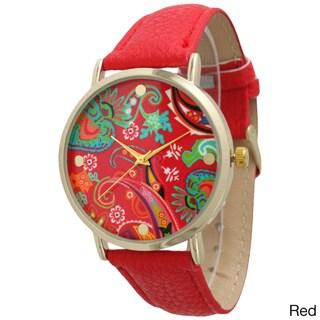 Olivia Pratt Women's 13369 Abstract Paisley Leather Watch